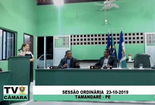 Sessão Ordinária da Câmara Municipal de Tamandaré 23/10/2019.