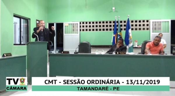Sessão Ordinária da Câmara Municipal de Tamandaré 13 de Outubro de 2019.