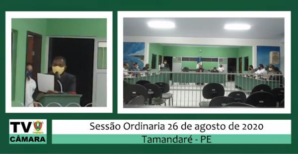 SESSÃO ORDINÁRIA DA CÂMARA 26 DE AGOSTO DE 2020.