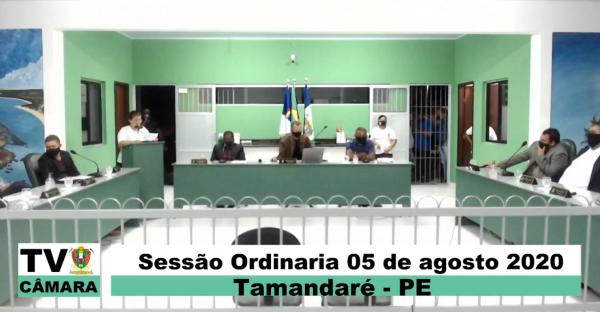 SESSÃO ORDINÁRIA DA CÂMARA MUNICIPAL DE TAMANDARÉ 05 DE AGOSTO DE 2020.