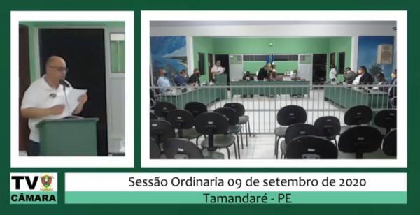 Sessão Ordinária da Câmara 09 de Setembro de 2020.