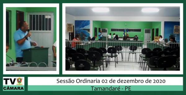 Sessão Ordinária da Câmara 02 de Dezembro de 2020.